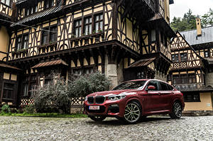 Hintergrundbilder BMW Bordeauxrot Metallisch 2018 X4 xDrive25d M Sport Worldwide Autos
