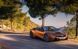 Wallpaper BMW Orange Roadster 2018 i8 Cars
