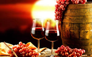 Wallpapers Barrel Grapes Wine Stemware Two Food