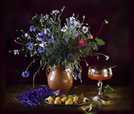 Hintergrundbilder Sträuße Flockenblumen Konfitüre Marille Vase Blumen