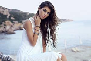 Bilder Braune Haare Blick Kleid Sitzend Schön Mädchens