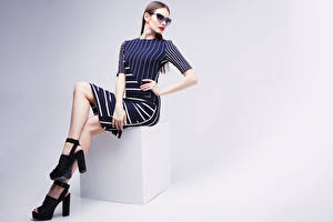 Wallpapers Brown haired Sitting Glasses Frock Stilettos Girls