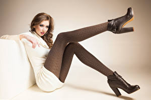 Images Brown haired Sitting Legs Boots female
