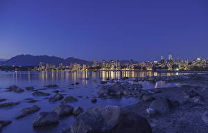 Pictures Canada Building Evening Stone Vancouver Bay Cities