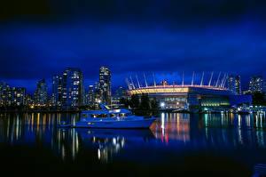 Hintergrundbilder Kanada Gebäude Flusse Bootssteg Motorboot Abend Vancouver Städte