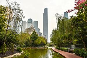 Bakgrundsbilder på skrivbordet Kina Byggnader En damm Träd Guangzhou stad