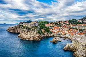 Wallpapers Croatia Coast Building Castles Dubrovnik Crag Cities