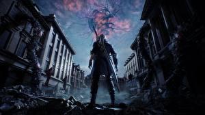 Bilder Devil May Cry Devil May Cry 5 Dante Krieger Schwert Spiele 3D-Grafik Fantasy