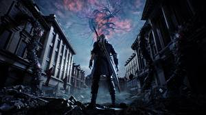 Images Devil May Cry Devil May Cry 5 Dante Warriors Swords vdeo game 3D_Graphics Fantasy