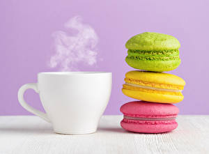 Pictures Drinks Cup Vapor French macarons Multicolor Food