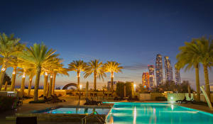Pictures Emirates UAE Resorts Building Pools Night Palm trees Abu Dhabi Cities
