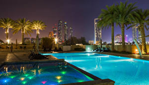 Picture Emirates UAE Spa town Houses Pools Palm trees Night time Abu Dhabi Cities