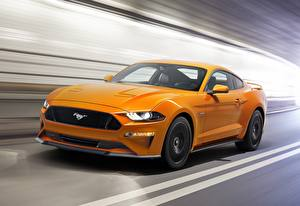 Hintergrundbilder Ford Gelb Bewegung Mustang Fastback 2017 Autos