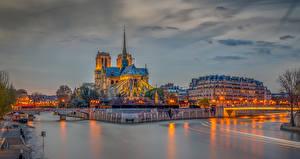 壁纸、、フランス、建物、川、夕、橋、パリ、ハイダイナミックレンジ合成、Notre Dame、
