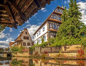 Wallpaper France Building Canal Spruce Weissenburg Alsace Cities