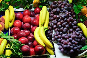 Bilder Obst Weintraube Pflaume Bananen