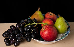 Picture Grapes Apples Pears Plate Food