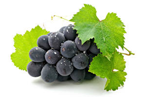 Pictures Grapes Closeup White background Foliage Food