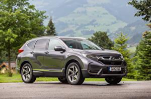 Desktop hintergrundbilder Honda Crossover Graue Metallisch 2018 CR-V auto