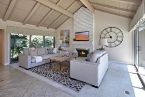 Fotos Innenarchitektur Uhr Design Wohnzimmer Sofa Teppich