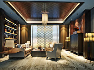 Wallpapers Interior Design Lounge sitting room Sofa Wing chair Ceiling 3D Graphics