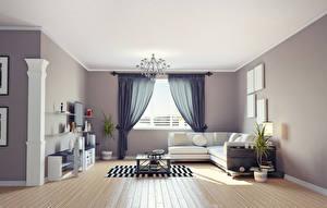 Pictures Interior Design Living room Sofa Chandelier