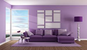 Image Interior Couch Violet Pillows 3D Graphics