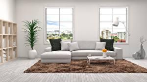 Pictures Interior Sofa Window 3D Graphics