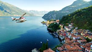 Hintergrundbilder Italien Haus See Gebirge Küste Wasserflugzeug Varenna Städte