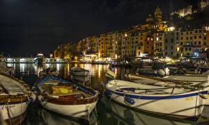 Wallpaper Italy Liguria Marinas Boats Houses Bay Night PortoVenere Cities