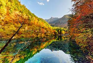 Papel de Parede Desktop Vale Jiuzhaigou China Parque Outono Florestas Lago Naturaleza
