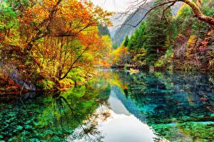 Papel de Parede Desktop Vale Jiuzhaigou China Parque Lago Outono Florestas Fotografia de paisagem Naturaleza