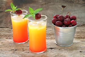 Fotos Fruchtsaft Kirsche Trinkglas Eimer das Essen