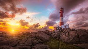 Pictures Lighthouses Sunrises and sunsets Sky Stones HDR