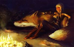 Image Magical animals Elves Bonfire Sitting Blonde girl Wearing boots Night Girls