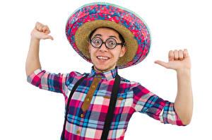 Fotos Mann Weißer hintergrund Der Hut Hand Brille Lächeln Hemd