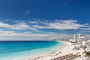 Hintergrundbilder Mexiko Haus Küste Meer Himmel Strand Cancun beach Natur