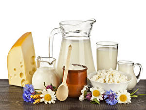 Wallpaper Milk Cheese Quark curd cottage farmer cheese Camomiles Cornflowers Jug container Spoon Food