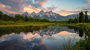 Bilder Gebirge Landschaftsfotografie See USA Park Grand Teton Natur