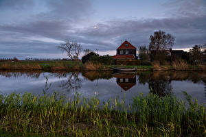 Pictures Netherlands Rivers Houses Evening Grass Spijkerboor Nature