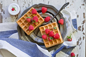 Picture Pastry Raspberry Waffles Plate Fork