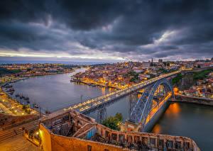 壁纸、、ポルト、ポルトガル、住宅、川、橋、夕、桟橋、ハイダイナミックレンジ合成、