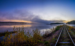 Photo Rivers Railroads Autumn Rails Branches Nature