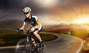 Hintergrundbilder Straße Fahrrad Helm Brille Sport Mädchens