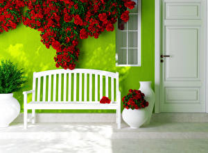 Fotos Rosen Bank (Möbel) Rot Tür Blumen