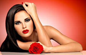 Photo Rose Brown haired Face Red lips Hands Makeup female