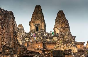 Papel de Parede Desktop Ruínas Escada Cambodia, Angkor Cidades