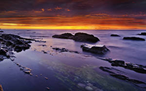 Pictures Scenery Sea Sunrises and sunsets Stones Sky Nature