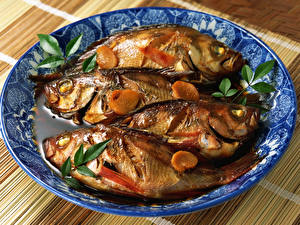 Hintergrundbilder Meeresfrüchte Fische - Lebensmittel Teller Lebensmittel