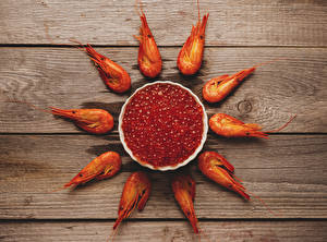 Images Seafoods Shrimp Caviar Wood planks Grain